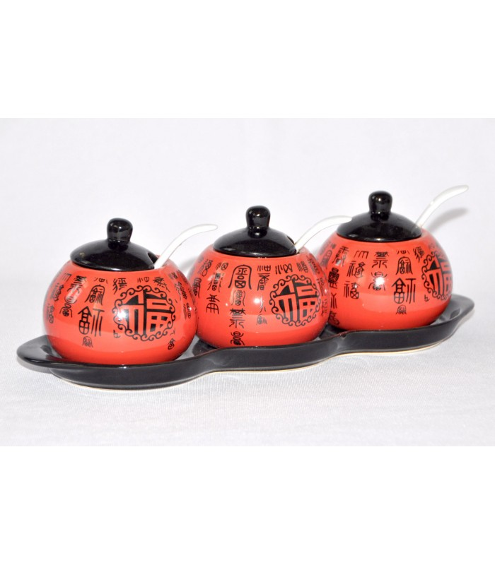 3 pcs Chinese Sauce Condiment set - Vinegar / Soya Sauce / Ketchup
