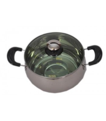 Best Quality 18cm Stainless Steel Pan/Pot with Glass lid (Steamer/Kadai)