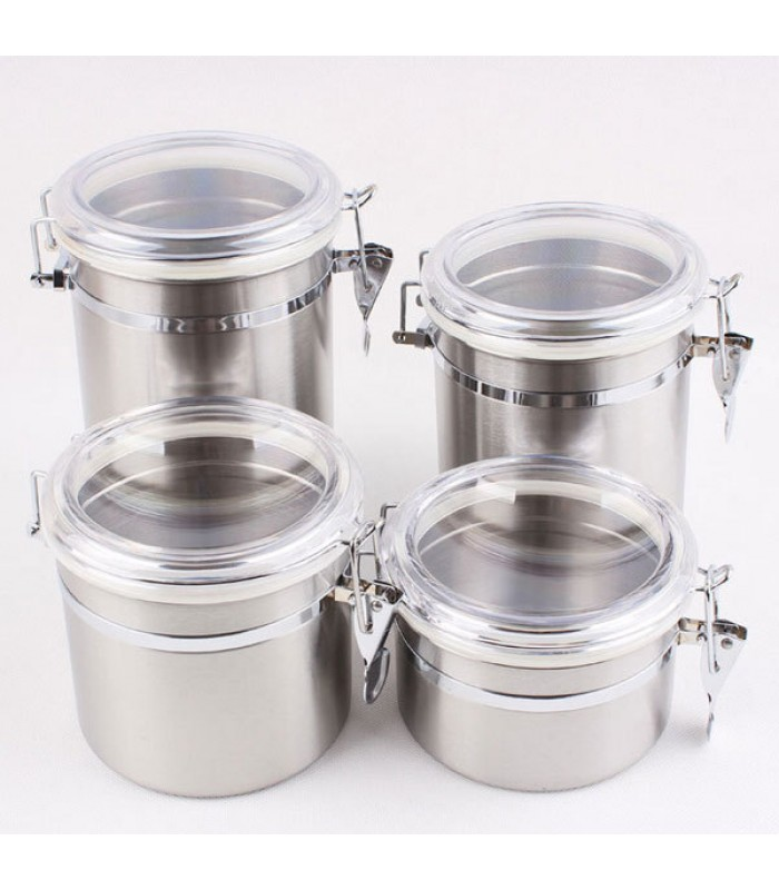 4 Piece Stainless Steel Canister Set with Airtight Acrylic Lid and Clamp