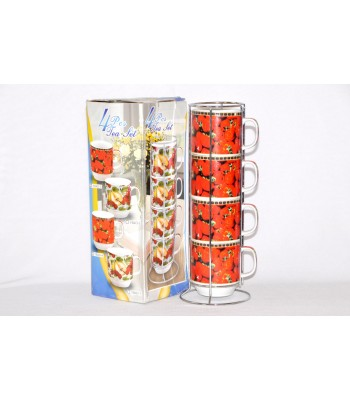4Pcs Tea/Coffee set with Stainless Steel Stand - Best for Office/Home use